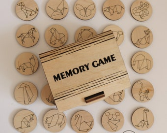 Memory game, origami animals, lasercut, plywood, clutch, sorter game, puzzle