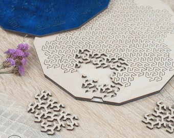 """Personalised wood fractal custom puzzle """"Gosper Curve"""" jigsaw. Impossible custom adult jigsaw puzzle.Personalized gifts"""