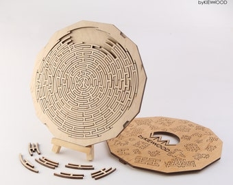 Custom wood fractal puzzle Death Star, Anti stress puzzle for mental health, Personalized gift jigsaw. Gift for smart.