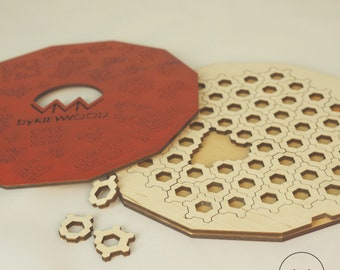 Custom wood fractal jigsaw puzzle Honeycomb