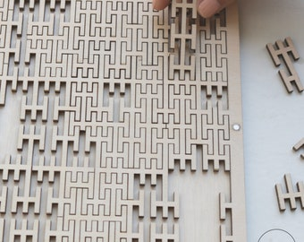 Hard level Peano Fractal puzzle,wooden puzzle adult,gift for a friend,for the boyfriend,gift for smart,for the scientist,for a mathematician