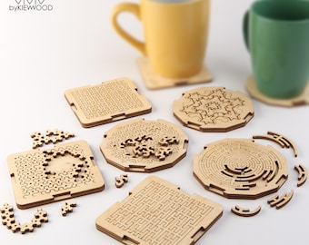 Fractal Jigsaw Coaster Set-Personalised Wooden Engraved Coasters-set of 6 pieces-New Home Gift-Unique Gifts-Drink Mats-Modern Coasters