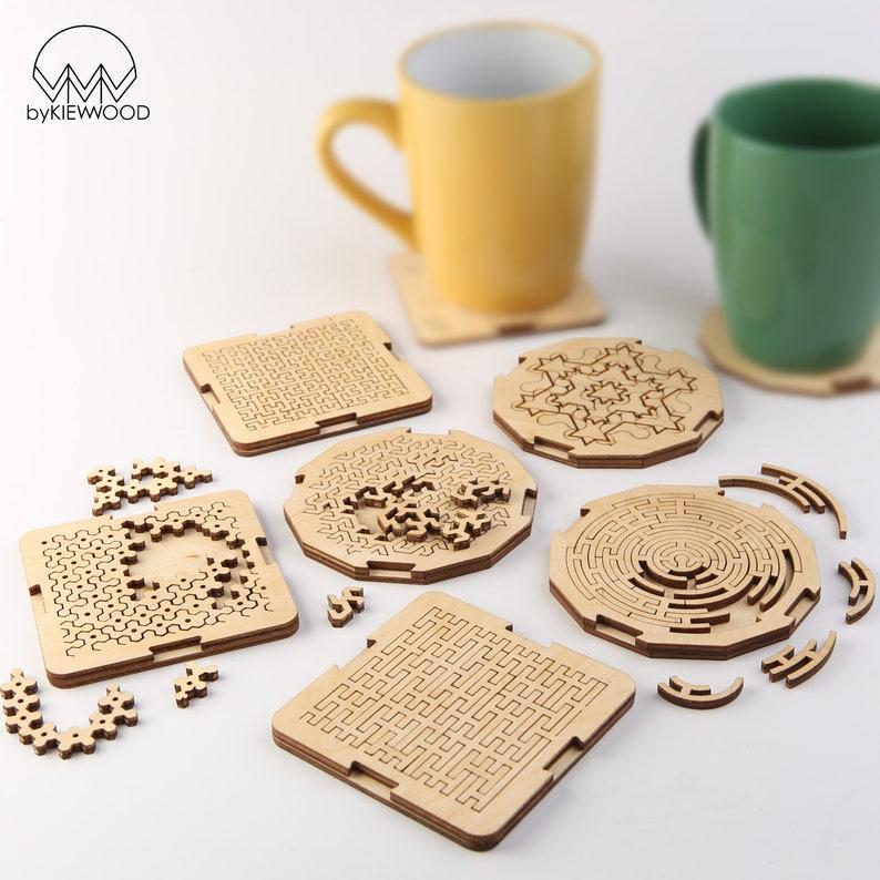 Fractal Jigsaw Coaster Set-Personalised Wooden Engraved image 1