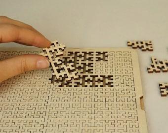Classic Fractal  Puzzle Hilbert Curve, Custom wood Fractal jigsaw.