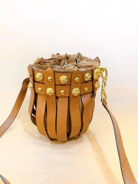 Vintage Leather Bucket Bag - Gold Metal Details