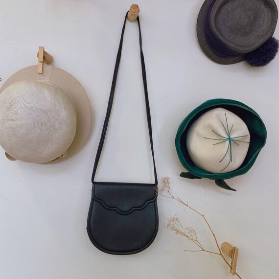 Vintage YSL black round shoulder bag