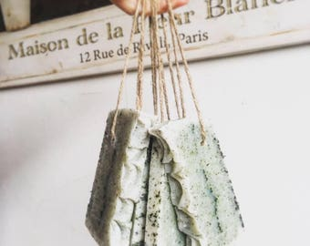 Natural Handcrafted artisan Nettle and peppermint soap on a rope, with organic coconut oil, pure coconut milk and preciuos essential oils.