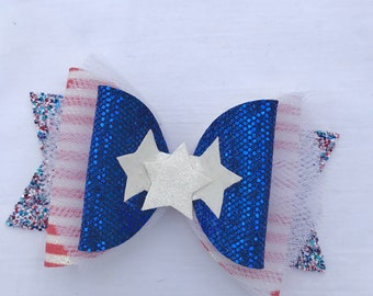 4th of july bow, Memorial Day bow, glitter bow, red white and blue bow, 4th of july hair clip, 4th of july headband