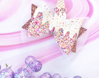 Ice cream cone bow, ice cream bow, ice cream cone hair bow, ice cream hair bow, ice cream cone hair clip, ice cream hair clip, summer bow