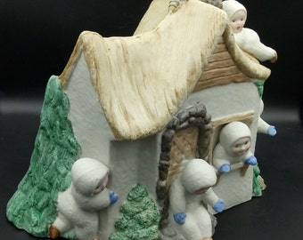 Porcelain, scraping, brandy, painted, 5 snow children with house, smelted, fired, for painting, glazing