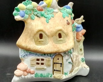 Porcelain, crannies, brandy, Easter house with bunny, smoulded, burnt, for painting, glazing