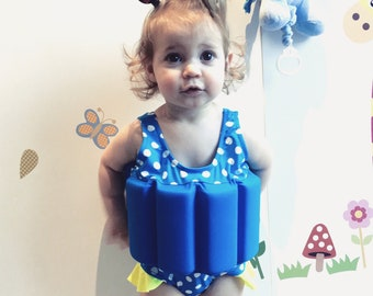 Girls Swimwear with adjustable floats - Polka Dot - 10 - 14kg & 14 - 18kg