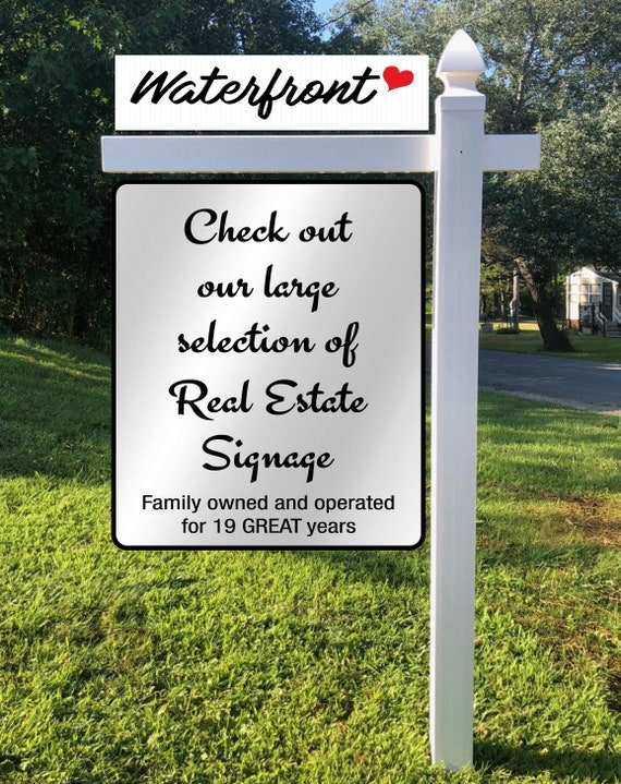 "WATERFRONT 6/""x24/"" REAL ESTATE RIDER SIGNS Buy 1 Get 1 FREE 2 Sided Plastic"