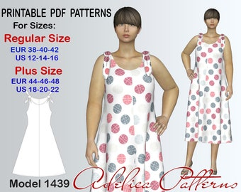 b6b522f4d4e75 Tie Strap Loose fitting Summer Dress sewing pattern for sizes 12-22