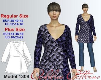 Wraparound Tunic PDF sewing pattern, Women's sizes 12-22, Plus size Tunic pattern PDF