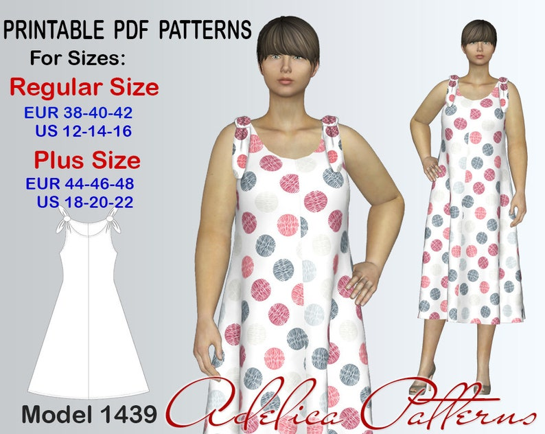 a615bc7aeb3 Tie Strap Loose fitting Summer Dress sewing pattern for sizes
