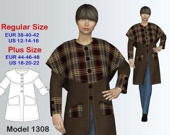 Cardigan Sewing Pattern PDF, Women's sizes 12-22 , Plus size Cardigan PDF Instant Download Sewing Pattern