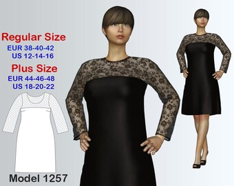 Evening Dress Sewing Pattern PDF, Women's sizes 12-22, Dress PDF Instant Download Sewing Pattern, Plus size Sewing Pattern