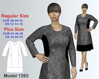 Dress Sewing Pattern PDF, Women's sizes 12-22, PDF Instant Download Sewing Pattern/Geometric Dress Sewing Pattern
