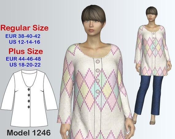 Cardigan Sewing Pattern Pdf Womens Sizes 12 22 Plus Etsy