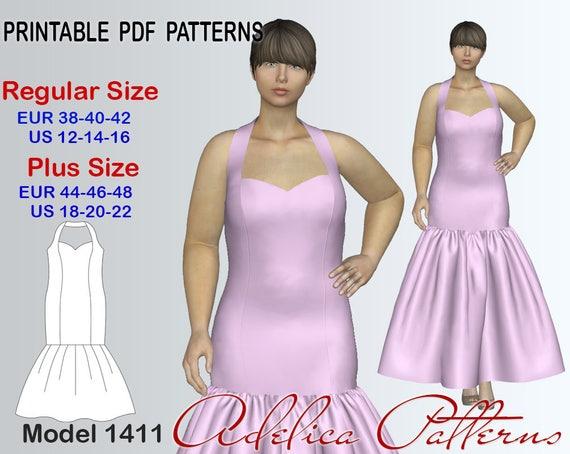 Elegant Mermaid Dress Sewing Pattern For Sizes 12 22 Evening Etsy