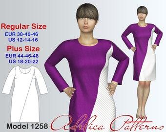 Asymmetric A-line Dress Sewing Pattern PDF, Instant Download Sewing Pattern, Dress Sewing Pattern, Sizes 12-22