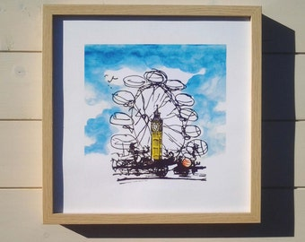 The London Eye and Big Ben - a lovely quality signed A4 print from my original 5 sketch/paintings