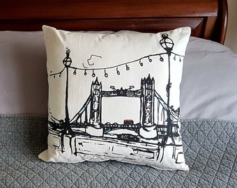 View from the north side of the River Thames of Tower Bridge, my sketch, available on a lovely quality cushion