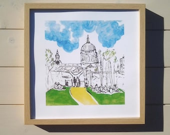 St Paul's Cathedral, from the Tate Modern and the Millennium Bridge on a sunny lunchtime. Available as a lovely quality signed A4 print.