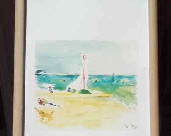 On the Beach...a lovely quality A4 print of a little watercolour I painted on a beautiful beautiful day last year in Brighton