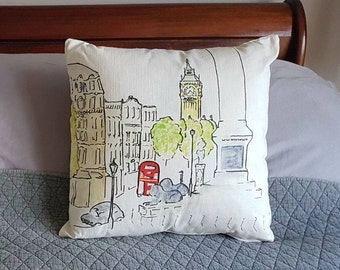View from Trafalgar Square through to Big Ben, London sketch, available on a lovely quality cushion
