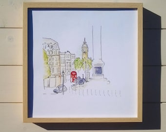 Trafalgar Square & Big Ben from the steps of the National Gallery London, lovely quality signed A4 print from my set of 5 orig. paintings