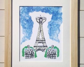 Set of 2  - Effiel Tower, Paris Celebration & Bon Voyage airballoon London/France A4 signed lovely quality prints