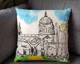 St Pauls Cathedral, London from the Tate Modern over the Millennium Bridge, my sketch on a very nice quality cushion