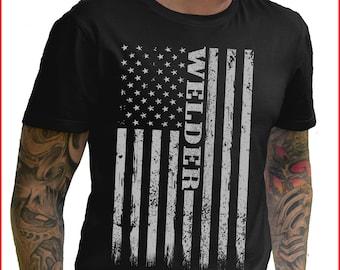 012712a1 Welding, Vintage, American Flag, Welder Gift TShirt, Short-Sleeve Shirt  Holiday Gift T-Shirt Graphic Funny TShirt