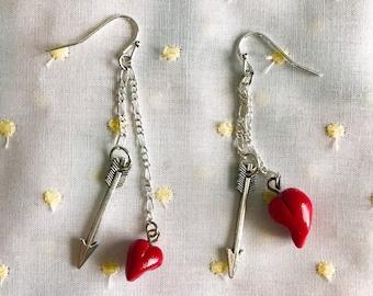 Red Heart and Arrow Drop Earrings | Girl's Silver Valentine Earrings Tibetan Silver Polymer Clay