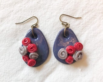Purple Drop Earrings with Clustered Silver and Pink Rose Embellishment, Polymer Clay Earrings