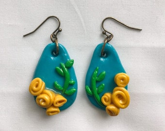 Teal Drop Earrings with Clustered Yellow Rose Embellishment, Polymer Clay Earrings