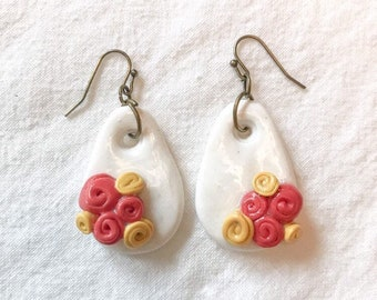 White Drop Earrings with Clustered Yellow and Pink Rose Embellishment, Polymer Clay Earrings
