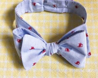 Crab Bow Tie, Self-Tie Unisex Bow Tie for Graduation or Wedding, Crab Necktie