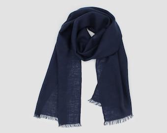 ffb0374dd Navy Blue Cashmere Scarf 100% Cashmere Scarf Super Soft Cashmere Scarf  Featherlight Scarf