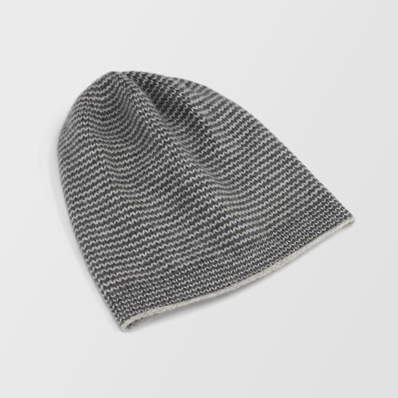 5856dc935 Men's Pure Cashmere Beanie Hat Striped Rib Hat Extra Warm Winter Accessory  Gift for Him