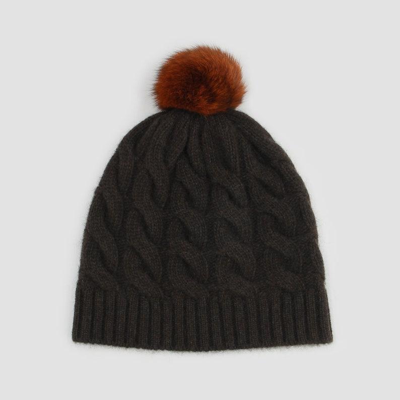3655b6f77bc Mongolian Yak Wool Cable Hat Womens Yak Hat Bobble Hat 100%