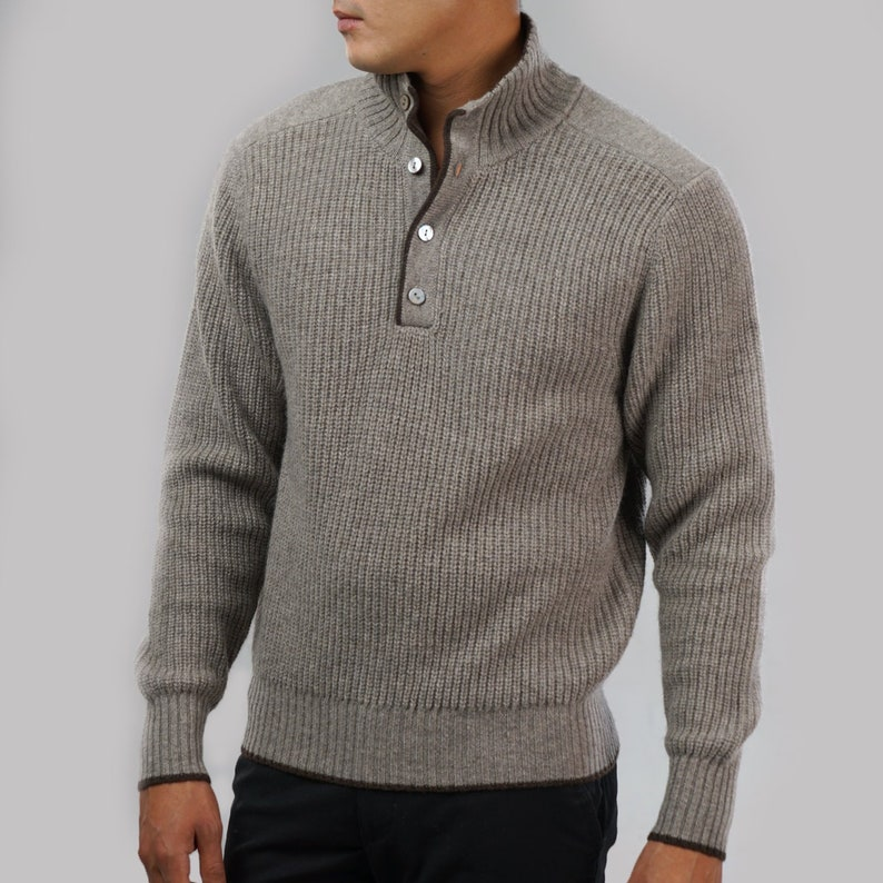Men's Jumper with Button Collar Mongolian Pure Yak Wool image 0