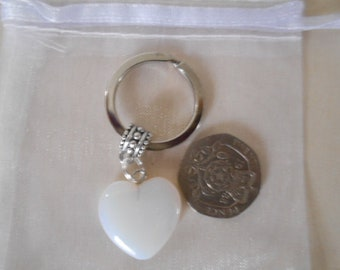 Gemstone Heart keyring - Opalite - ideal gift for him or her