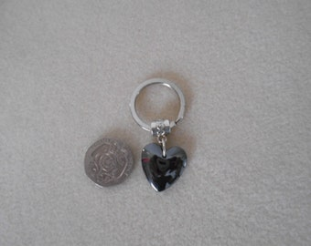 Gemstone Heart keyring - Hematite - protective stone- for him or her