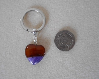 Gemstone Heart Keyring - Agate - Ideal gift for him or her