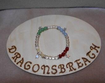 Elemental stretchy Gemstone Bracelet: Earth, Air, Fire, Water  18cm