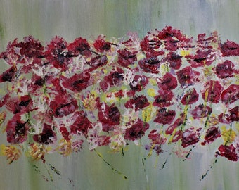 Dancing Wild  Poppies In The Meadow Gift For Mother's Day. Gift For Her. Original Acrylic Art For all. Original canvas. Mother's Day Gift.