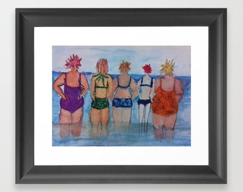 Gift for Mother's Day Bathing Belles Print.  Gift for Girlfriends, Gift for Wife. Gift for Best Friend. Limited Edition. Signed and numbered